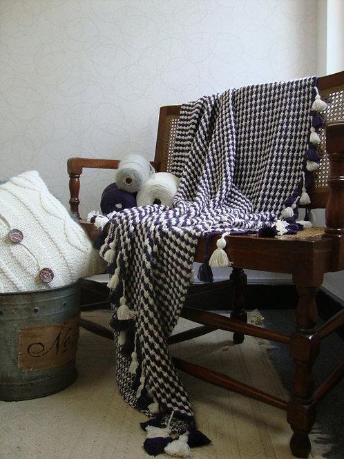 Manta de lana de alpaca tejida a mano
