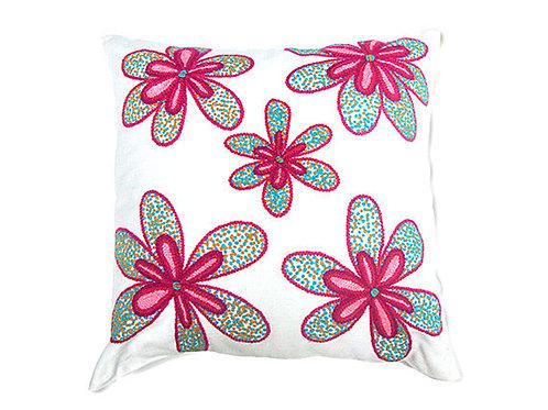 Almohada con flores bordada a mano