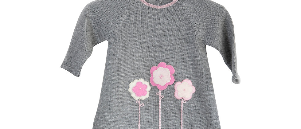 Gray Dress with embroidery flowers