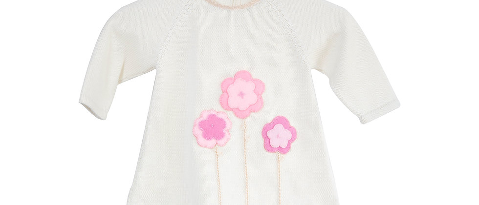 Ivory Dress with Embroidery Flowers