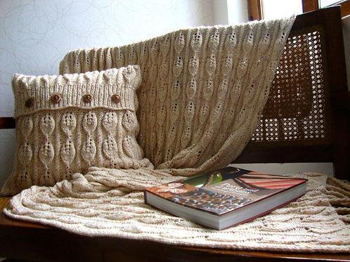 Set de 1 Almohada + 1 manta tejida a mano