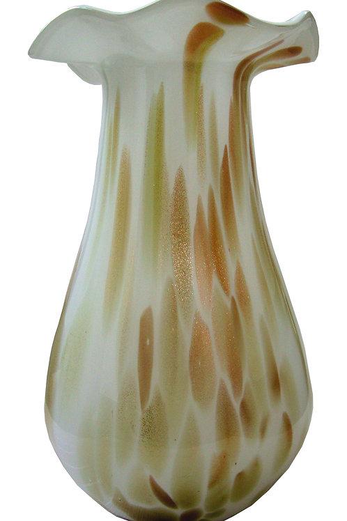 Jarrón decorativo marrón con crema