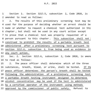 HF 2015: Proposed Iowa House legislation aims to admit now-inadmissible PBT results