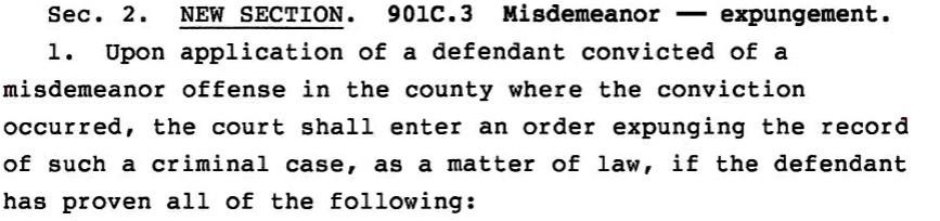Iowa criminal law misdemeanor expungement bill excerpt