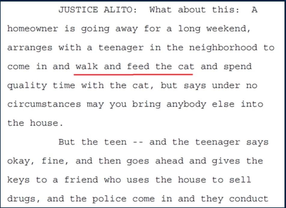 Justice Alito Quote Walk the Cat in Byrd oral argument