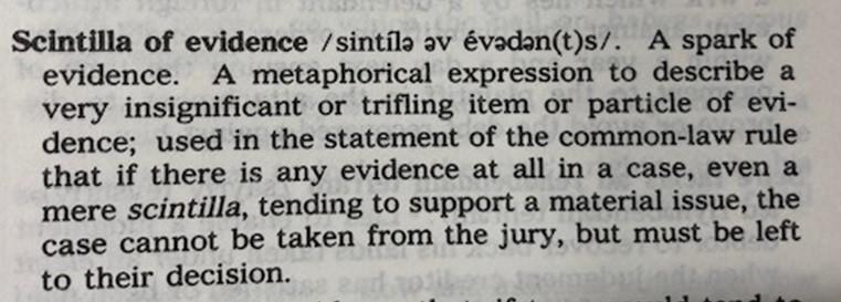 Scintilla Black's Law Dictionary Entry