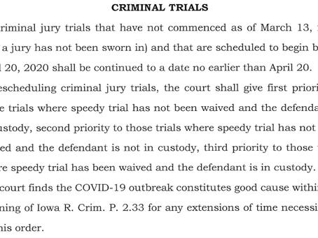 Iowa high court issues coronavirus order