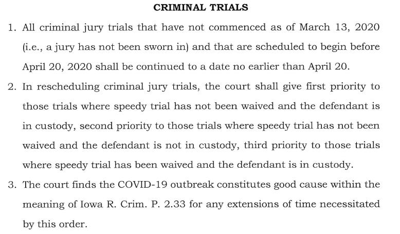 Excerpt of Iowa Supreme Court Coronavirus Order