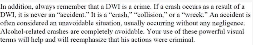 NHTSA OWI prosecution training manual excerpt