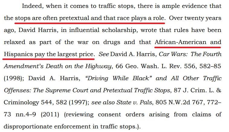 Justice Appel Warren racial bias quote and excerpt