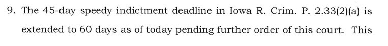 Iowa Supreme Court Emergency Supplementary Order