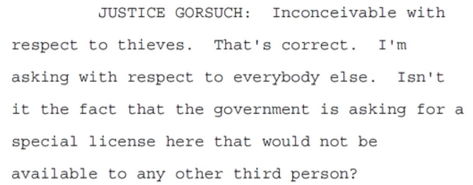 Gorsuch posing thief hypothetical in Byrd oral argument quote