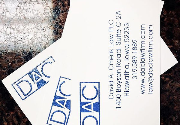 David A. Cmelk Law PLC busines cards