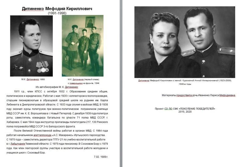 Участник войны М.К.Дитиненко