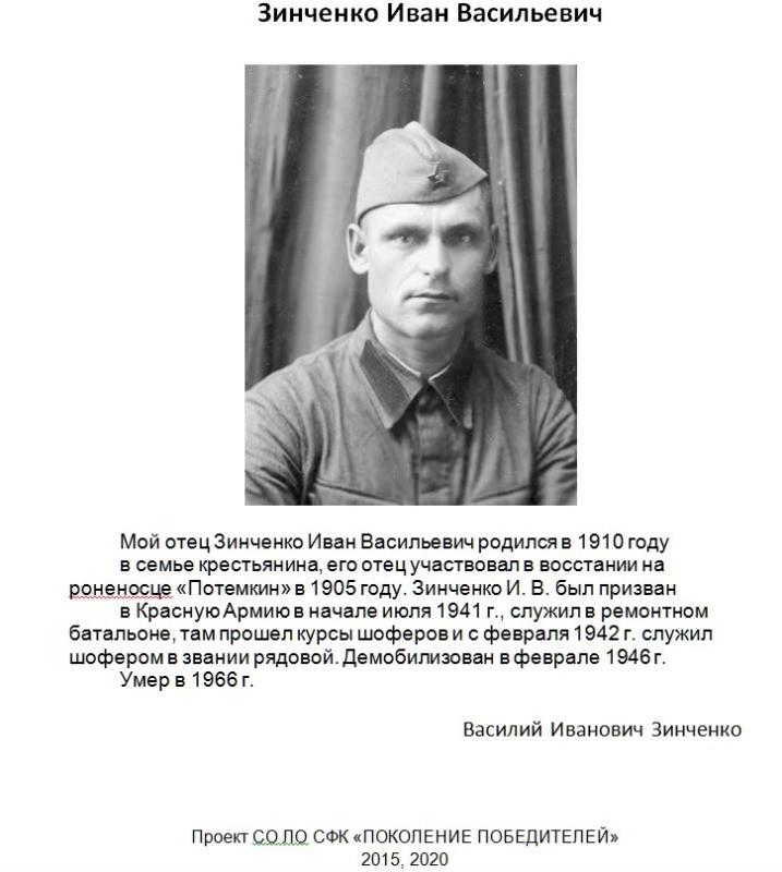 Участник войны И.В.Зинченко