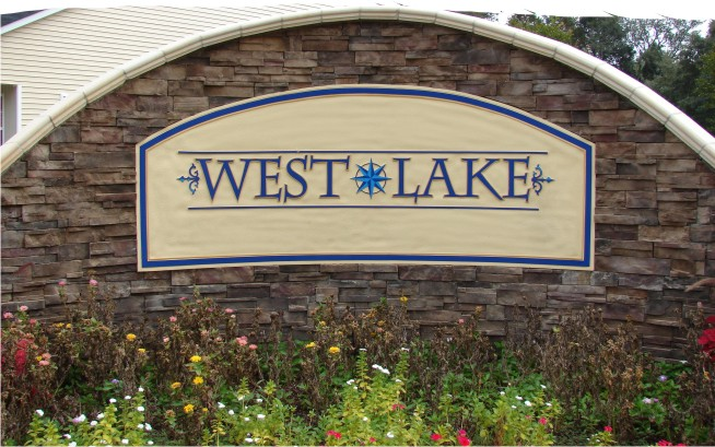 West Lake Sandblasted Sign