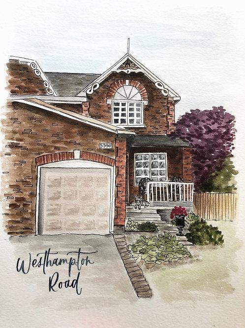 Custom Watercolour House Portrait