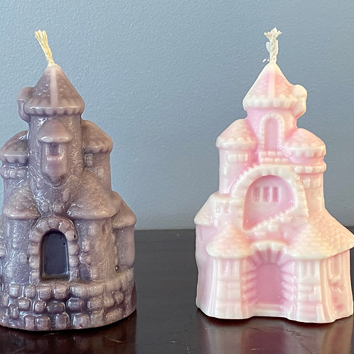 Castle Candle in White & Dark Blue