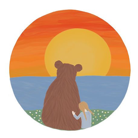 Girl hugging a bear watching the sunset illustraton by Miss Neira Designs childrens and fashion illustrator