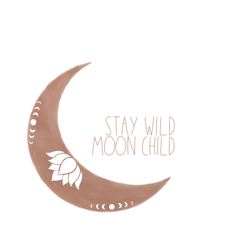 Stay Wild Moon Child Boho Art Miss Neira Designs Moon Art with a Lotus