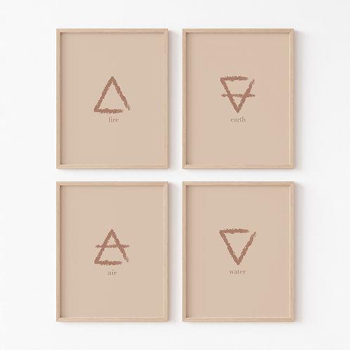 Alchemy Elements Art Print | Set of 4 | Abstract Boho Art |