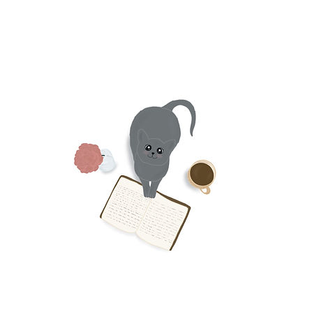 illustrationof a cat with a book and coffee by Miss Neira Designs childrens and fashion illustrator