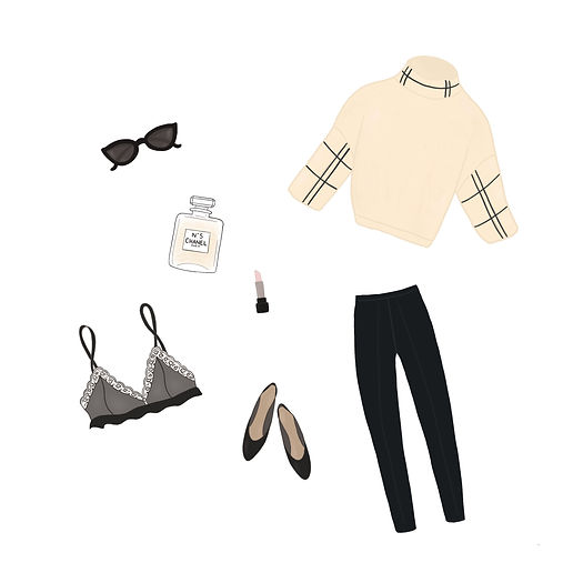 Fashion illustration of a Parisian with Chanel perfume, lingerie and lipstick by Miss Neira Designs childrens and fashion illustrator