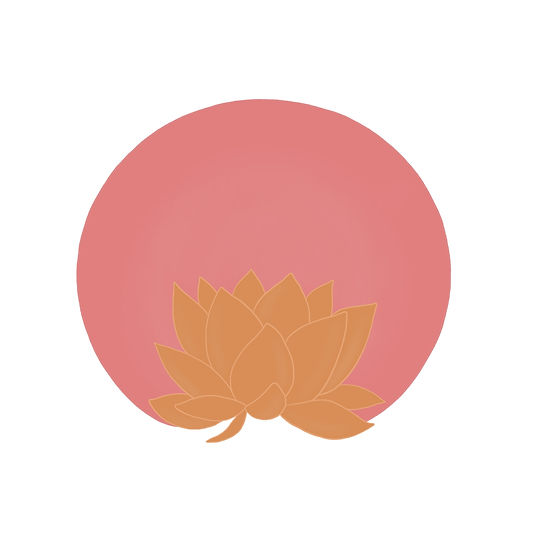 Orange lotus with pink sun illustration mindful art by Miss Neira Designs childrens and fashion illustrator
