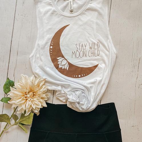 Stay Wild Moon Child Tank   White Muscle Tank   Boho Lotus Moon Tank
