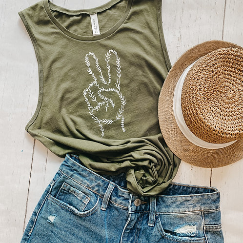 Peace Sign Tank | Military Green Muscle Tank | Plant Line Art Tank