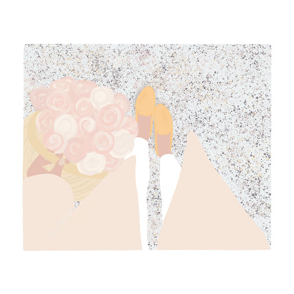 Fashion illustration of yellow shoes with pink roses by Miss Neira Designs childrens and fashion illustrator
