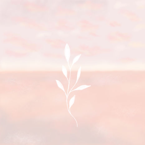 Illustration of white leaves and pink sunset sky by Miss Neira Designs childrens and fashion illustrator