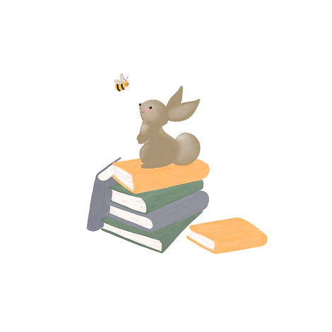 Bunny and Bee reading on top of books children's illustration. Readin corner decor, nursery wall art and kids room decor