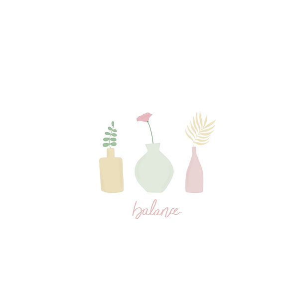 Flowers in vase with the word balance illustration pastel colors flower art by Miss Neira Designs childrens and fashion illustrator