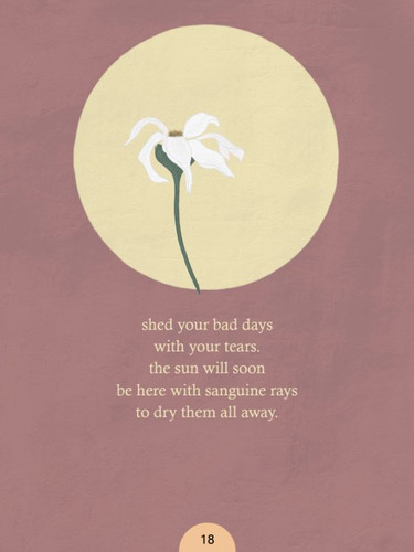 White flower with yellow sun - poetry book illustration by Miss Neira Designs