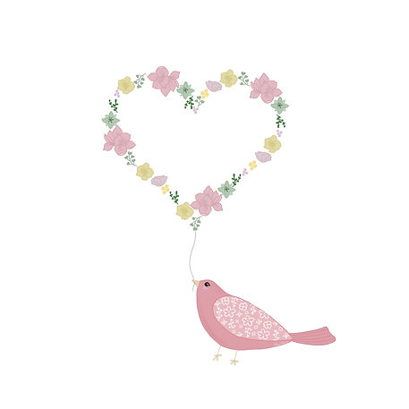 Bird carrying a flower heart illustration by Miss Neira Designs childrens and fashion illustrator