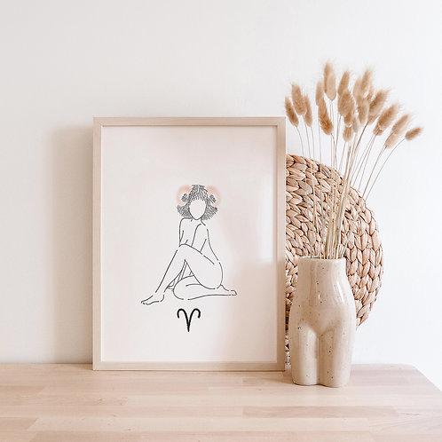 Aries Woman Art Print | Zodiac Line Art | Minimal Astrology Wall Art | Gift for