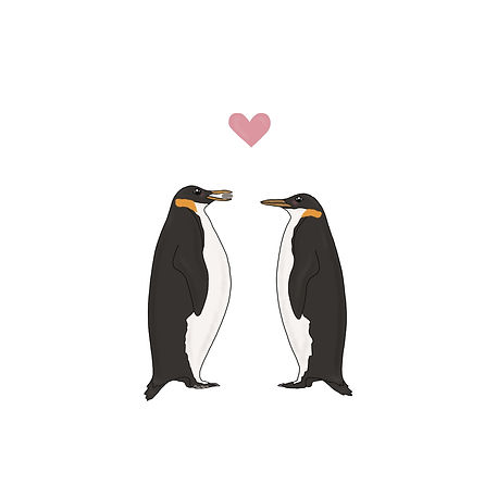 2 penguins in love illustration by Miss Neira Designs childrens and fashion illustrator
