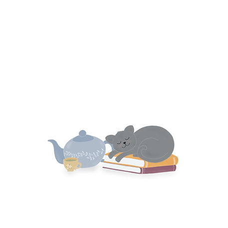 illustration of a sleeping cat on books with tea by Miss Neira Designs childrens and fashion illustrator