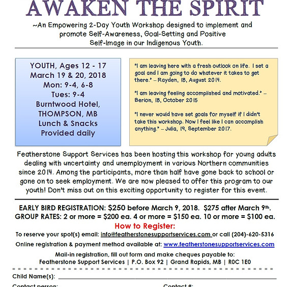 Awaken the Spirit 2-Day Youth Workshop - THOMPSON