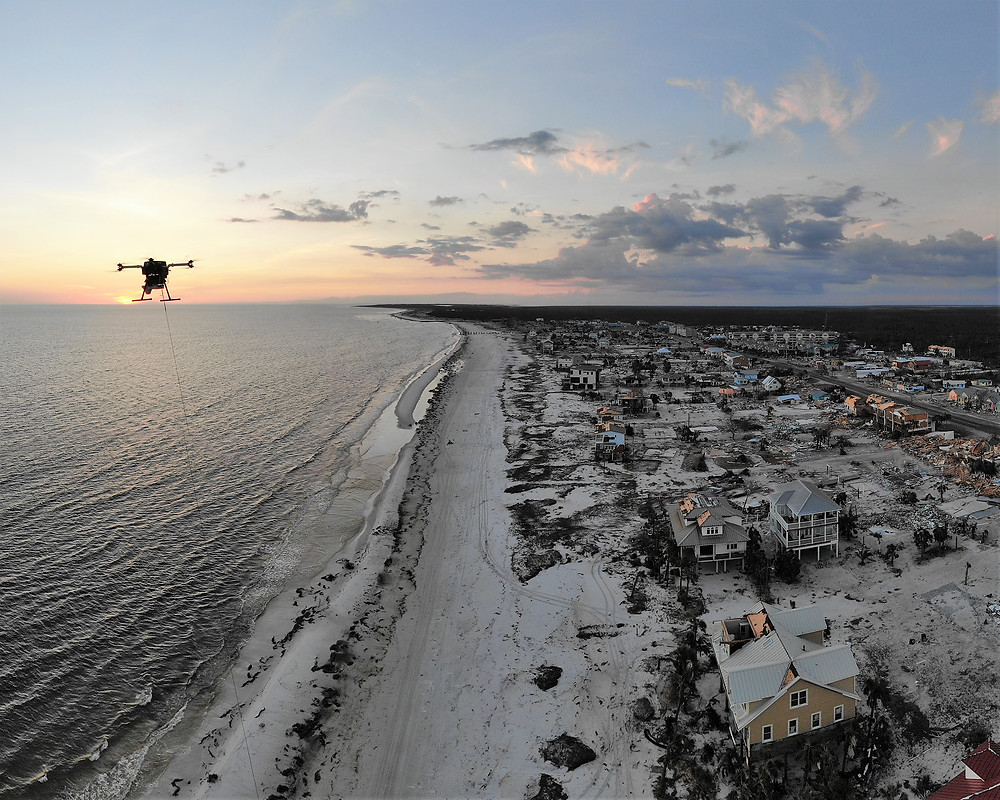 Tethered Drone System Hurricane Damage - LEAP Solo over Mexico Beach in Florida