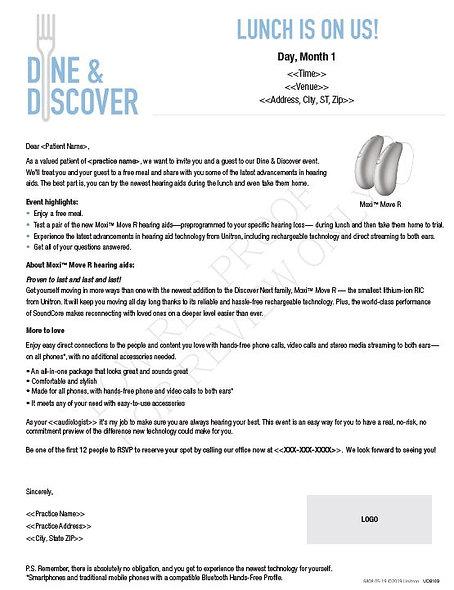 Dine & Discover database letter_UDB110
