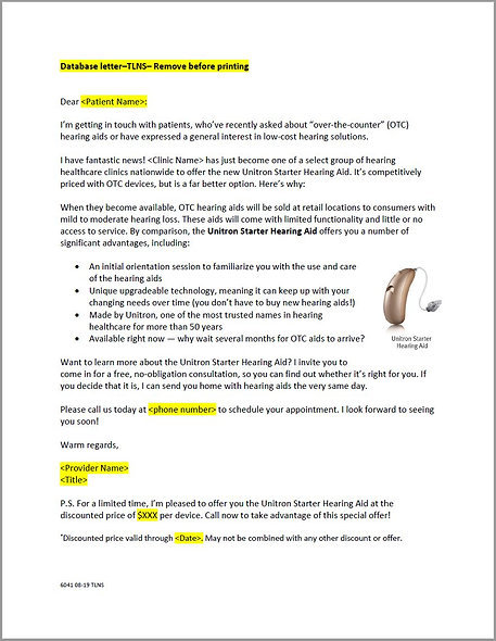 Starter Hearing Aid - TNS Database Letter & Follow Up