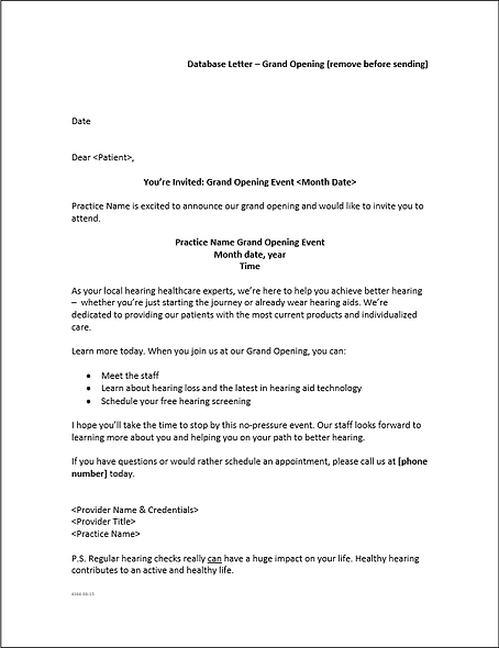 Grand Opening Letter