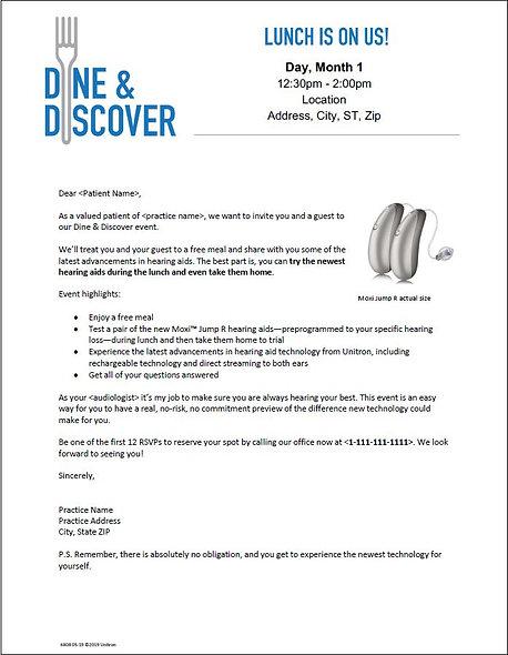Dine & Discover Letter