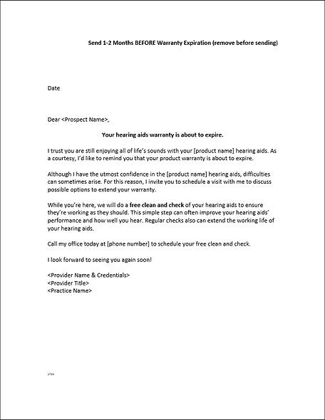 Warranty Expiration Letter
