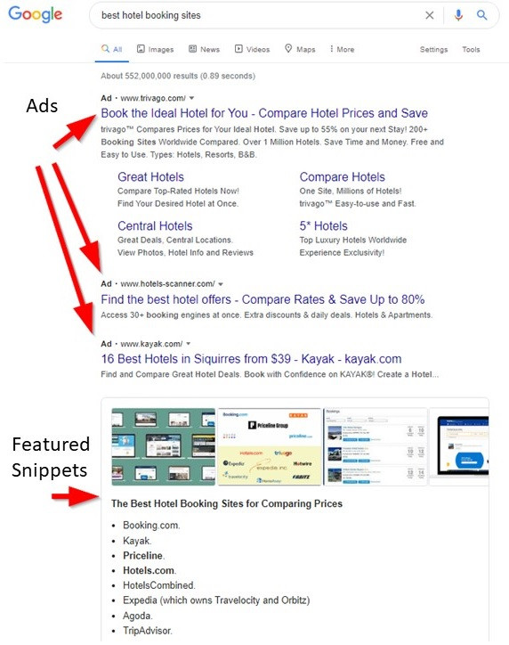 Ads and featured snippets in google search results