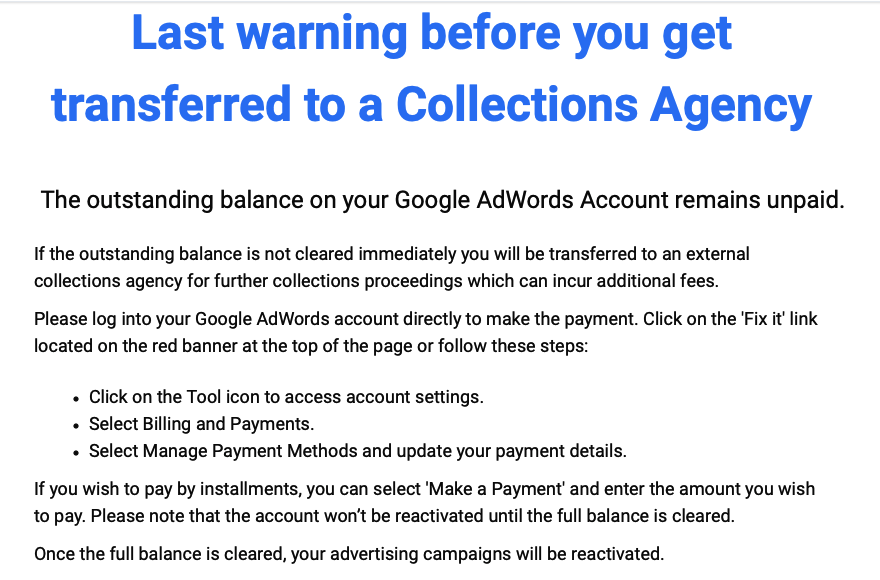 notification of unpaid ad balance