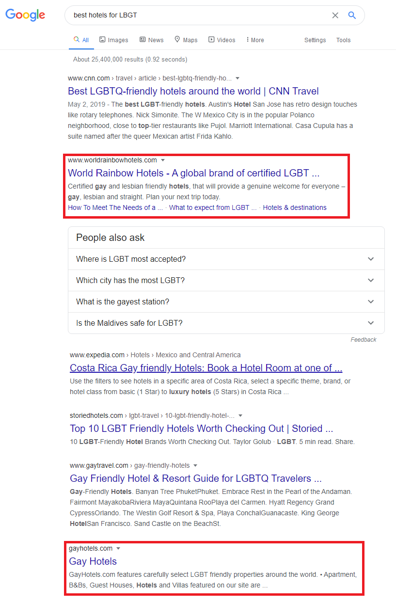best hotels for LBGT search in google