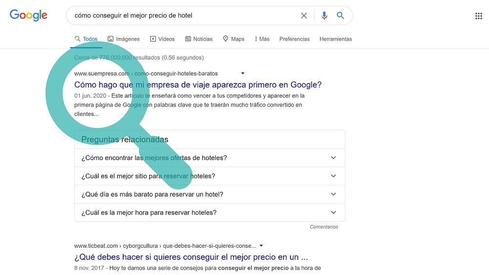 aparecer en la 1era página de Google